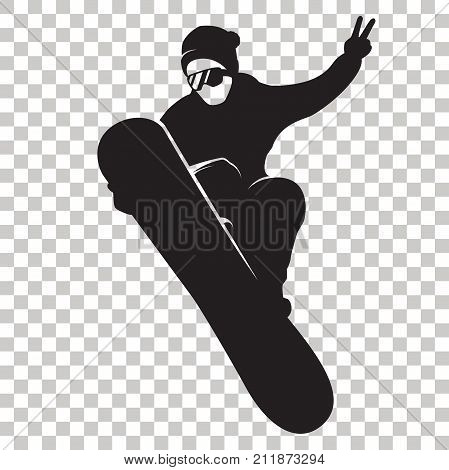 Snowboarder Silhouette isolated on transparent background. Stylized Snowboarder black logo. Rider with snowboard. Winter sport icon. Vector illustration. Eps 10