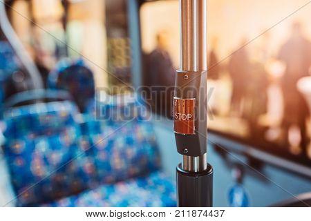 Stop Key In Modern City Bus