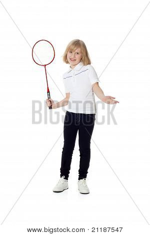 Pretty Girl With A Tennis Racket In His Hand