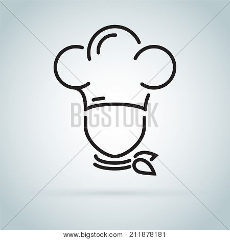 Chef in a cooking hat vector outline logo. Kitchen simple black icon. Cute cook in uniform. Kitchener professional master Isolated Vector Illustrator