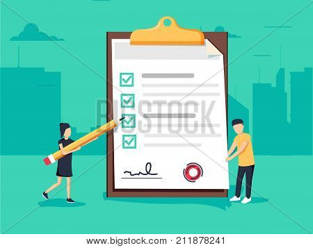 Woman holding a pencil completing checklist on clipboard. Business concept. Clipboard with checklist icon. Illustration of clipboard with checklist for web