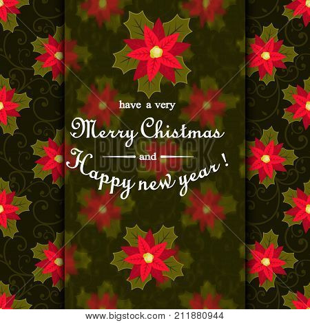 Christmas card with poinsettia flowers and the text of the calligraphic inscription in the middle. Invitation or greeting card. Stock vector. Dark background for your design.