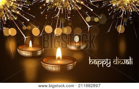 Happy Diwali Indian Festival Of Candle Lights Holiday Vector Greeting Card