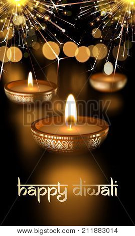 Happy Diwali Hindu Festival Candle Lights Holiday Greeting Card Vector Sanskrit Text
