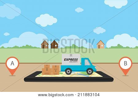 Express Delivery Concept. Checking Delivery Service App On Mobile Phone. Delivery Pickup With Cardbo