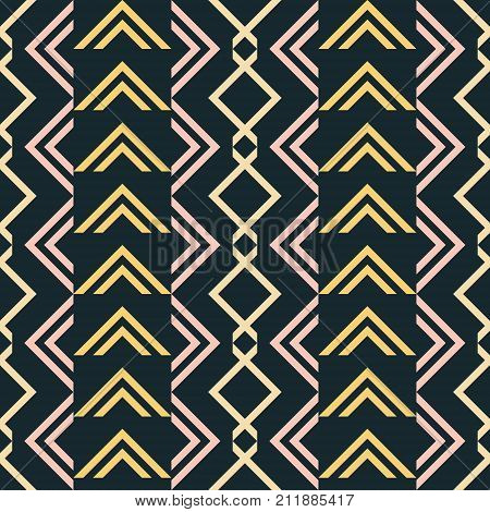 Abstract seamless pattern of V shaped geometric elements in blue-black, yellow, dusty pink colors. Vector print for fabric, paper and other