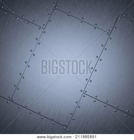 Riveted sheet iron. Shabby metal background. 3D rendering