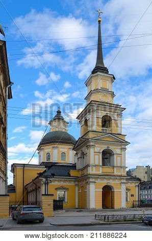 SAINT PETERSBURG RUSSIA - MAY 3 2017: Temple of holy righteous Simeon the God-Bearer and Anna the Prophetess (Simeonovskaya Church) St. Petersburg Russia
