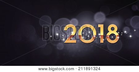 Gold year 2018 typescript and stars shapes on a festive black background poster