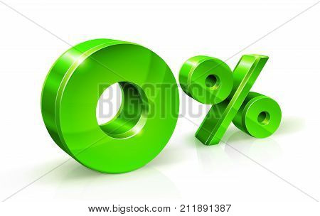 Green zero percent or 0 isolated on white background with reflection. Zero percent interest rate, tax. 3D style Vector illustration.
