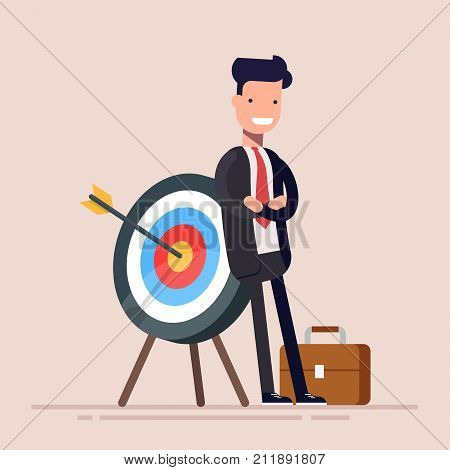 Happy businessman or manager is standing near the target. The arrow hit the target exactly. Flat vector illustration in cartoon style