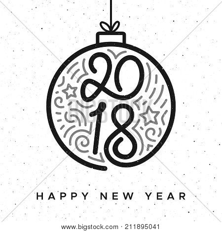 Happy New Year 2018 vintage greeting card with typography and doodles on christmas ball over white background. Vector illustration