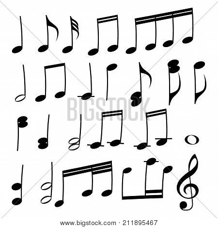 A set of musical notes. Collection of black musical notes. Vector illustration. Elements for music.