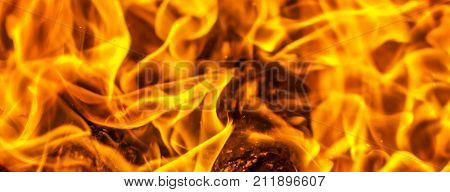 Background with red fire. The spurts of flame