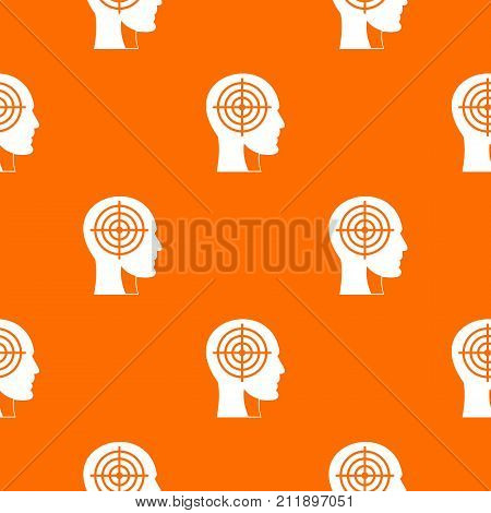 Crosshair in human head pattern repeat seamless in orange color for any design. Vector geometric illustration