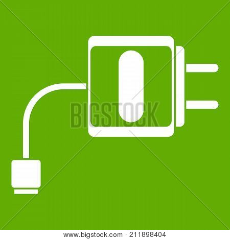 Mini charger icon white isolated on green background. Vector illustration