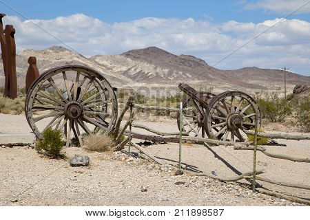 Rhyolite, Nevada, USA: September 1st 2017 - Old carts at Rhyolite ghost town, Nevada