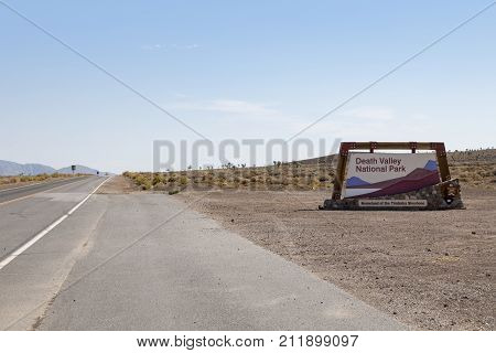 Death Valley, Nevada, USA: September 1st 2017 - A sign welcoming visitors to Death Valley, Nevada