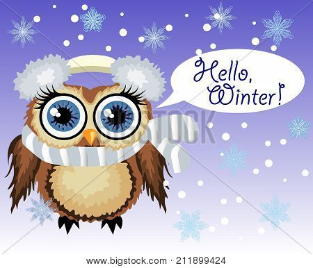 Little Cute Owl Fluffy, Soft Headphones With Cold And Scarf