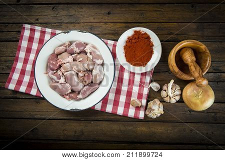 Raw And Fresh Suckling Pig Kidneys