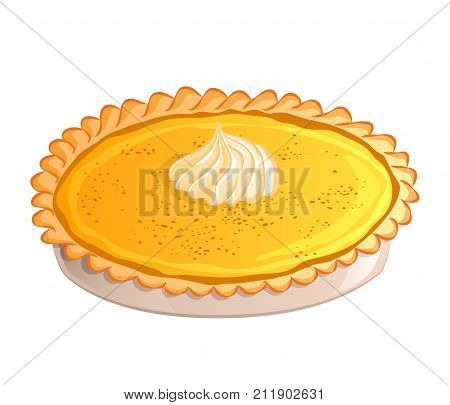 Traditional pumpkin pie with whipped cream. Icon isolated on white background. Autumn Thanksgiving theme. Vector illustration. Usable for design greeting card banner invitation poster.