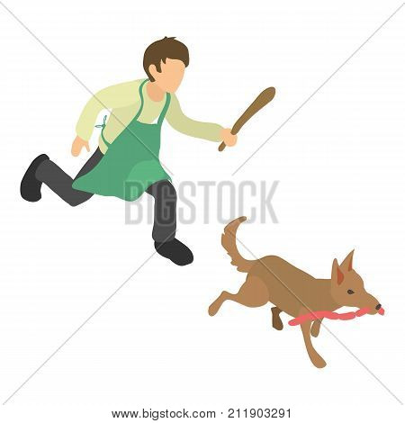 Dog thief icon. Isometric illustration of dog thief vector icon for web
