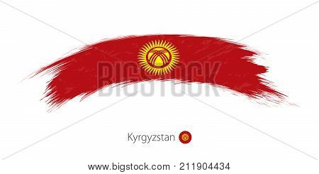 Flag Of Kyrgyzstan In Rounded Grunge Brush Stroke.