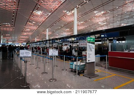 Beijng, China - October 2017: Eva Air check-in counter at Beijing airport in China. Eva Air is a Taiwanese international airline  and one of the major airlines in Asia.