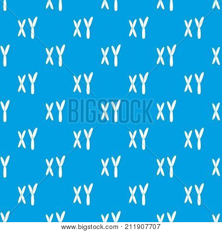 Human chromosomes pattern repeat seamless in blue color for any design. Vector geometric illustration
