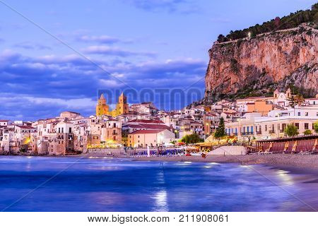 Cefalu Sicily. Ligurian Sea and medieval sicilian city Cefalu. Province of Palermo Italy.