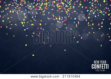 many falling multicolored confetti on a dark blue background celebratory background on birthday new