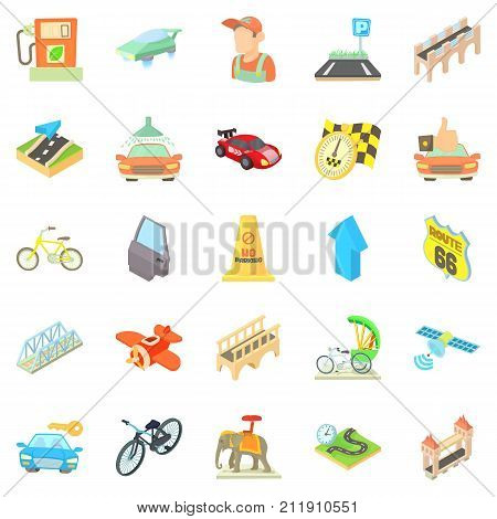 Kind of tourist transport icons set. Cartoon set of 25 kind of tourist transport vector icons for web isolated on white background