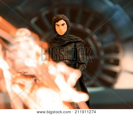 Moody portrait of Kylo Ren with flame light effect (long exposure) using Hasbro Black Series action figures - Episode 8: The Last Jedi