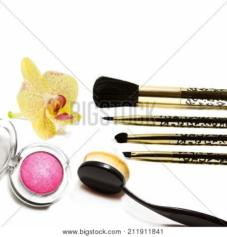 Makeup brush isolated on a white background