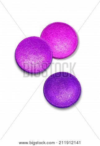 Purple eyeshadow set isolated on white background