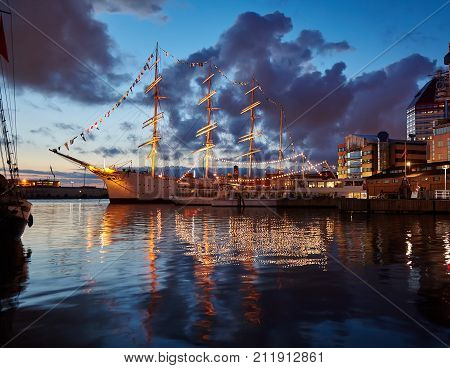 A large sailing ship in the port of Göteborg Sweden. Summer quiet evening