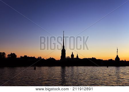 Peter and Paul fortress and the Neva river at sunrise Saint-Petersburg Russia