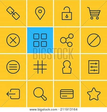 Editable Pack Of User, Payment, Padlock And Other Elements.  Vector Illustration Of 16 Annex Icons.