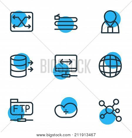 Editable Pack Of Ftp, Manager, Transfer And Other Elements.  Vector Illustration Of 9 Network Icons.