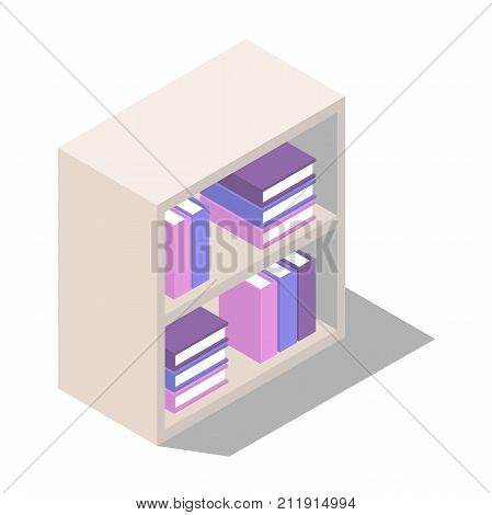 bookcase with shelves. The book stacks on the shelves in isometric view. standing and lying in the stacks of books on the shelves. Vector illustration isolated from background
