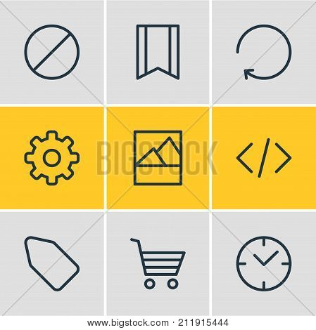 Editable Pack Of Script, Picture, Reload And Other Elements.  Vector Illustration Of 9 Annex Icons.