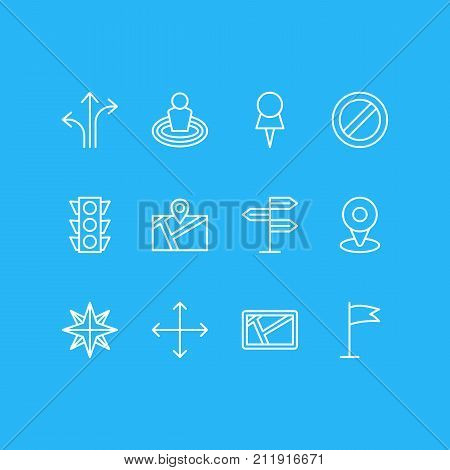 Editable Pack Of Marker, Block, Map And Other Elements.  Vector Illustration Of 12 Direction Icons.