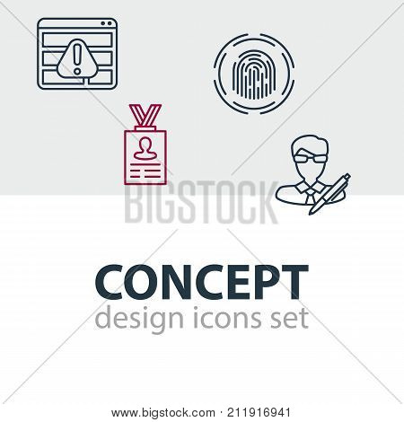 Editable Pack Of Finger Identifier, Account Data, Browser Warning And Other Elements.  Vector Illustration Of 4 Security Icons.
