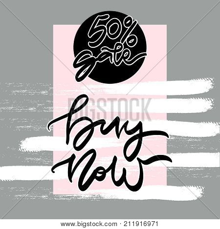 Sale banner template design. 50 percent sale. Buy now. Vector illustrations for banners, posters, newsletter designs, ads, coupons, social media banners.