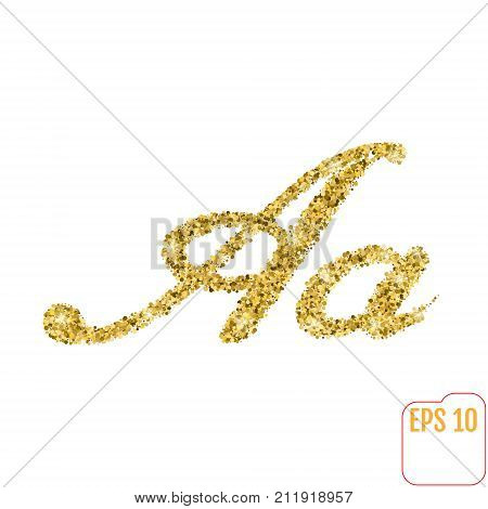 Gold Rush. Gold Alphabetic Letter A. Vector Gold Alphabet. Font