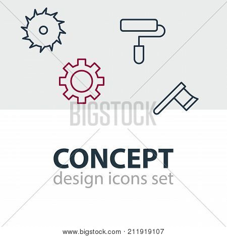 Editable Pack Of Cogwheel, Circle Blade, Hatchet And Other Elements.  Vector Illustration Of 4 Structure Icons.