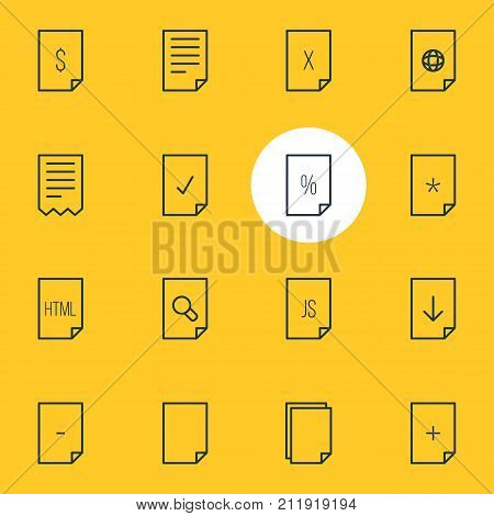 Editable Pack Of Document, Dollar, File And Other Elements.  Vector Illustration Of 16 Document Icons.