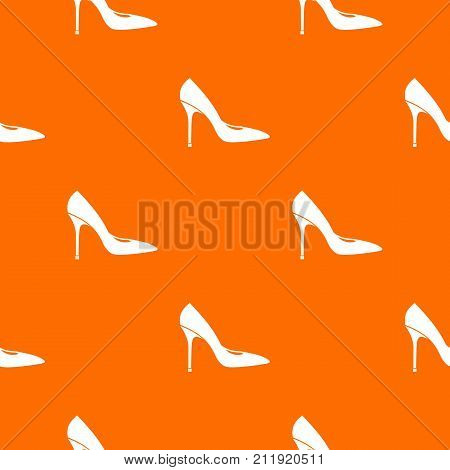 Women shoe with high heels pattern repeat seamless in orange color for any design. Vector geometric illustration