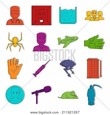 Phobia symbols icons set. Doodle illustration of vector icons isolated on white background for any web design