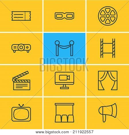 Editable Pack Of Slideshow, Movie Reel, Clapper And Other Elements.  Vector Illustration Of 12 Cinema Icons.
